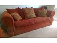 Sofa 3 Seater & Snuggle Chair in Rusette Colour Chanille fabric in good condition