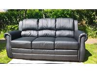 Ex-display Brampton 3 Seater Black Leather Sofa