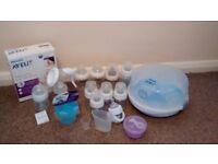 Baby bundle - steriliser, breast pump, 10xbottles, 2 powder dispensers - 1 new, measuring jug