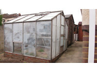 aluminium Greenhouse measuring 8 ft x 8ft with stageing 7ft.6 ins x 2ft.