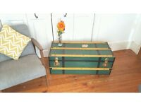 Vintage 1920's Metal Coffee Table Chest Travel Box