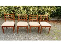 wooden dining chairs, upholstered seats x 4