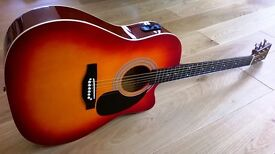 Electro Acoustic Guitar Full Size with Cutaway Body, case, strap and picks