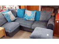Blue and grey fabric corner sofa