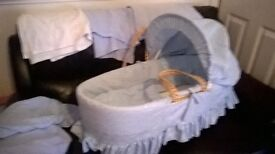 baby blue boys moses basket with bedding and blue baby bath