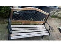 Bench with cast iron sides and back also have more