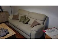 FREE SOFA COUCH SETTEE IN LIGHT CLEAN LIGHT BEIGE AND SINGLE METAL BED FRAME WITH MATTRESS,