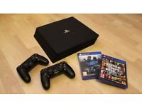 [NEW] PS4 Pro 1TB with 2 controllers & cables + 2 games (GTA V + Need for Speed)