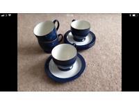 Denby Boston Blue Tea Set Brand New (x4 cups & saucers)