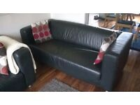 *For sale* Two black 'klippan' faux leather sofas, Ikea (new @ £175 each), sold as singles or a pair