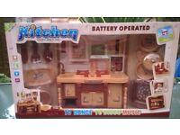 Kitchen plays toy set with sound - brown, new
