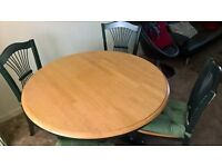 Solid wood round dining table and 4 chairs