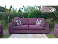 Ex-display 3 Seater Plum Fabric Settee and two Arm Chairs.