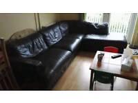 Huge leather corner sofa