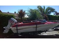"Well looked after 14' speed boat ""Paradise"" with 70hp Johnson outboard engine. Trailer + Cover inc."
