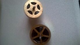 2 VINTAGE CLOCK MOVEMENT BARRELS WITH SPRINGS