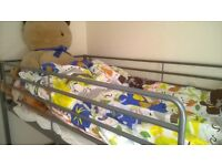 as new metal ikea bunkbed and bedding (used once ) for sale