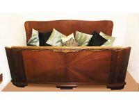 Art Deco solid oak double bed unusual design