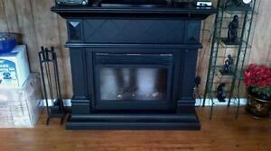 Teak electric fireplace