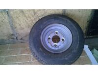 neat and tidy spare wheel for trailer with good tyre, 4.80/4.00 x 8