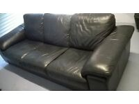 3 Seater Black Leather Sofa (DFS)