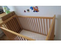 WOODEN COT WITH MATRESS FOR SALE