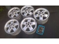 5x alloy wheels with full set of nuts for range rover/land rover