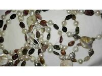 Real stones necklace with sterling silver pieces and ends