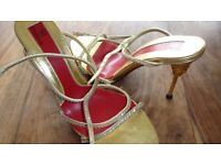 Gold Shoes Lovely Heel Size 6 Diamante Straps Brand New Not Worn
