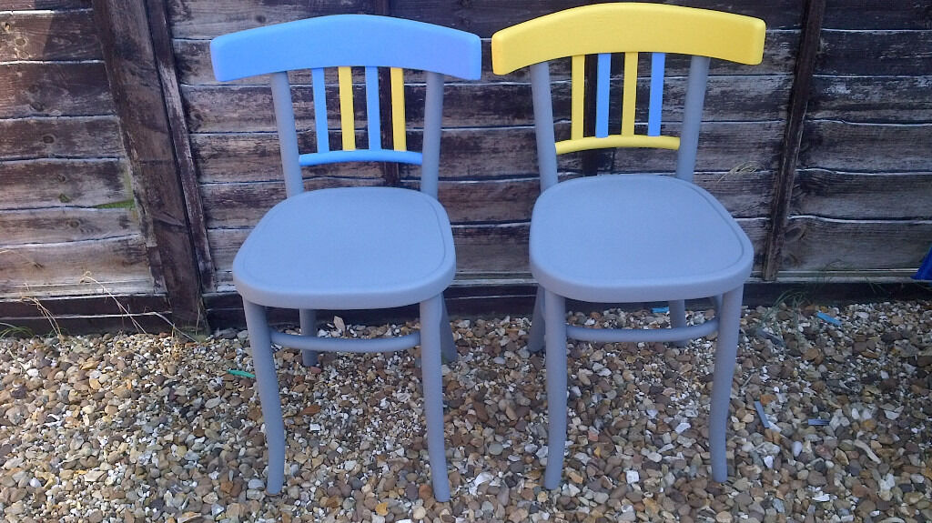 2 X Grey Blue Amp Yellow Vintage Chairs Painted In Chalk