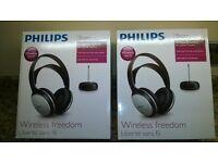 Two Boxed Philips Wireless Hi-Fi Headphones Sets.