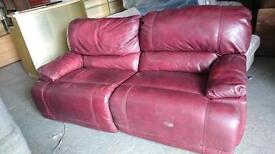 Burgundy Italian leather sofa