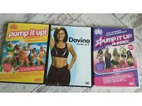 3 fitness DVD'S pump it up x2 and davina