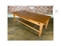 Retro teak coffee table with magazine rack