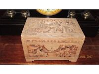 antique chinese camphor wooden carved chest