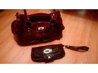 Small red shinny handbag and inca purse