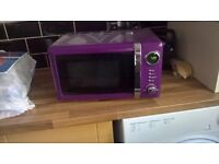 Purple microwave oven