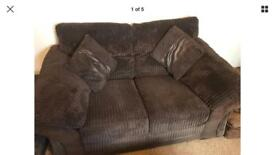 DFS CHOCOLATE FABRIC SOFAS SUITE 3 Seater 2 Seater Storage Footstool