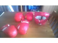 Junior Punchbag, Padded Elasticated Head Protector, Two pairs of Boxing Gloves