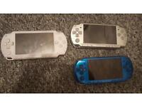 Psp handhelds x 3 for spare or repair may be working