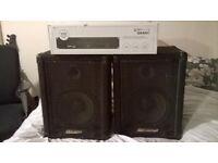NEW QTX 400W PA SYSTEM Power Amplifier & Carlsbro Speakers