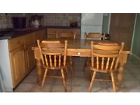 REDUCED FOR QUICK SALE -5ft x 3ft Solid pine kitchen farmhouse style kitchen table and 4 chairs