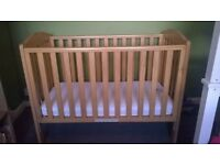 takeley mothercare wooden cot with mattress. good used condition, mattress excellent condition.