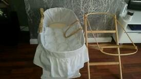 Moses basket and 2 stands
