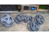 OLYMPIS WEIGHTS SET barbell 7 ft 121 kg weight plates