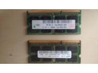 Two laptop memory sticks 2 x 2GB