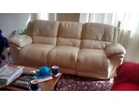 Leather 3 seat sofa, cream, very good condition, little used, 2 seats recline.