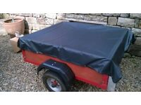tidy car trailer, approx 3.5' x 4', ideal camping trailer, excellent condition, with cover