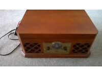 RETRO VINYL RECORD PLAYER, RADIO, CD AND CASSETTE PLAYER- NEVER BEEN USED