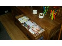 Solid wood console table/coffee table with two drawers for sale, good condition, only £150!